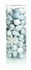Décorations Arbre de Noël Paquet 84 boules divers formes argent et blanc
