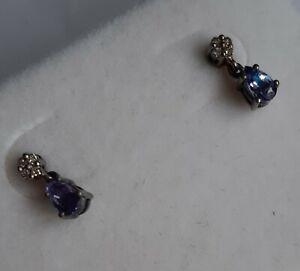 Delicate Platinum Overlay Stirling Silver Tanzanite & Diamond Earrings 0.36ct