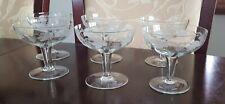 SET OF 6 STUNNING VINTAGE C1960'S GRAPE GLASS BOHEMIA CRYSTAL CHAMPAGNE GLASSES