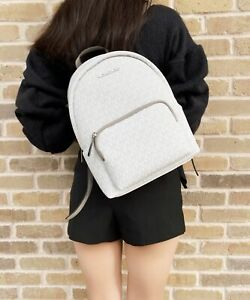 Michael Kors Erin Medium Convertible Backpack Bright White MK Signature