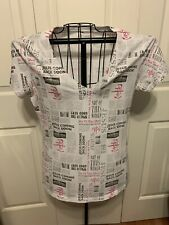 Women's Clothing Not Of This World NOTW Blouse Top Black & Pink On White Size L
