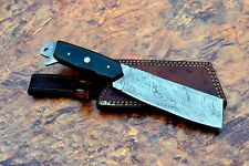 "Damascus steel BLADE OUTDOOR CLEAVER KNIFE  MICARTA  HANDLE. 10.5""inch Overall"