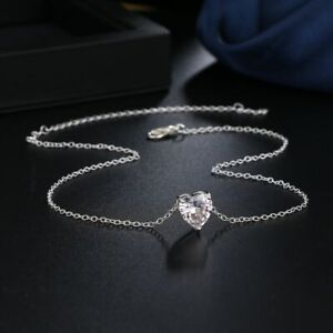 925 Silver Love Heart Cubic Zirconia Pendant Clavicle Chain Women Necklace Gifts