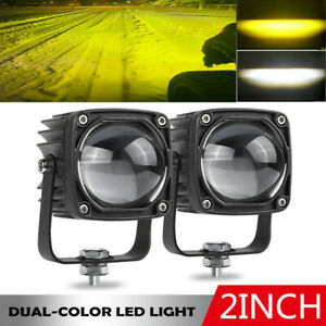 2X 2in LED Work Light Bar Yellow White ATV Offroad Pods Fog 4WD SUV Driving Lamp