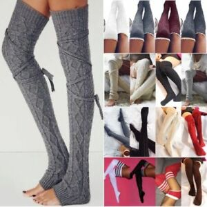 Women Ladies Knit Over Knee Long Boot Socks Thigh-High Winter Stockings Leggings
