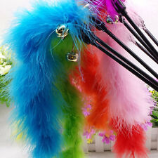 Cat Kitten Pet Teaser Turkey Feather Interactive Stick Toy Wire Chaser Wand TB