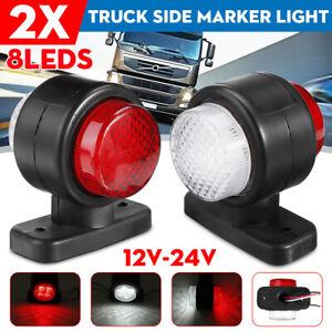 2x 12V 24V 8 LED Waterproof Side Marker Light Lamp Red & White For Trailer Truck