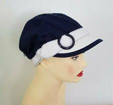 Navy Blue CHEMO CAP White Riding Hat w White Trim Cancer HEADWEAR FREE SHIPPING!