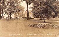 Storm Lake Iowa~Sunset Park Band Shell~Benches~Bro Hamilton in Town~1936 RPPC