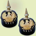 SET OF 2 PCS German Prussian Pickelhaube Black Leather Helmet Without Stand