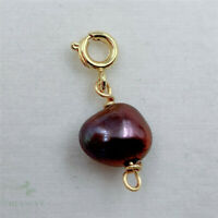 8x10mm Natural Purple Baroque Pearl Necklace Pendant Real Women Clasp Jewelry
