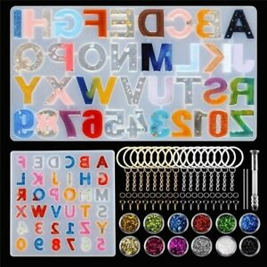 DIY Alphabet Silicone Mold Set Making Epoxy Resin Mold Keychains Pendant Jewelry