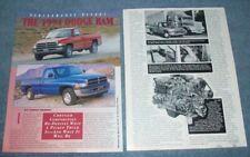 "1994 Dodge Ram Pickup Trucks Road Test Info Article V10 ""Performance Report"""