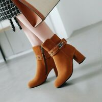 Women Block High Heel Ankle Boots Round Toe Buckle Faux Suede Booties Shoes Size