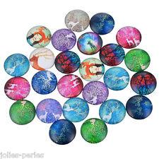 JP 10PCs Mixed Elk Pattern Dome Cabochon Glass Embe1lishments Jewelry 12mm
