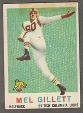 1959 TOPPS CFL MEL GILLETT B.C. LIONS #11 (LEWIS & CLARK PIONEERS)