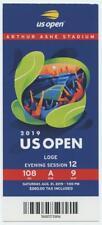 8/31 2019 US Open Tennis Loge FULL TICKET Serena Williams Bianca Andreescu