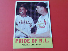 1963  TOPPS  # 138   WILLIE  MAYS / STAN  MUSIAL   PRIDE  OF  N.L.   VERY  NICE