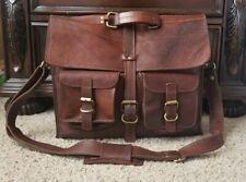 Vtg Oiled Wax Leather Crossbody Messenger Bag Handmade Briefcase Laptop attache