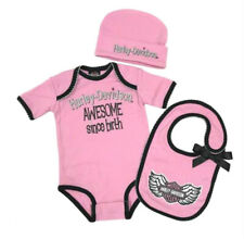 Harley-Davidson Infant Girls B & S Pink 3-Piece Creeper, Cap & Bib Set 2501917