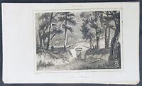 1837 Roux de Rochelle Original Antique Print Washingtons Old Tomb Mt Vernon VA