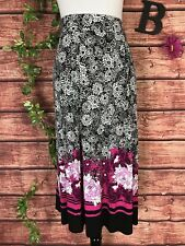 Dana Buchman Skirt size Extra Large Long Black Floral Pink Tropical Modest Slim