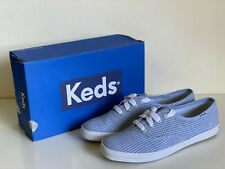 NEW! KEDS CHAMPION SEERSUCKER PRINT CHAMBRAY BLUE SHOES SNEAKERS 6.5 37 SALE