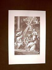 Litografia Natale L'adorazione dei Re Magi Breviarum Romanum del 1855 Ristampa