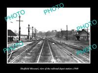 OLD LARGE HISTORIC PHOTO OF SHEFFIELD MISSOURI, THE RAILROAD DEPOT STATION c1940