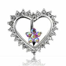 Top Down Heart & Pink Flower Belly Button Bar Navel Naval Ring Reverse