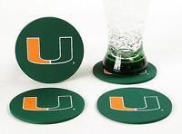 Miami Hurricanes CoasterSet 4 Football NCAC Licensed Sports LOGO DRINK FAN
