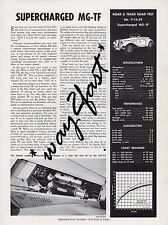 MG-TF  Road Test by Road & Track magazine November 1954 NOS