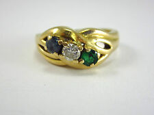 BEAUTIFUL LADIES 14K YELLOW GOLD EMERALD, DIAMOND, AND TOPAZ RING 6.4G SZ 7.75