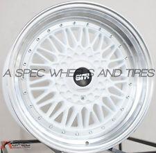 17X8.5 STR STR606B Wheels 5x100/114.3 et30 White Rims Fits Speed3 Accord Rsx Tsx