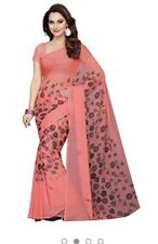NEW INDIA saree SARI FAUX GEORGETTE PINK red FLORAL Unstitched Blouse USA SELLER