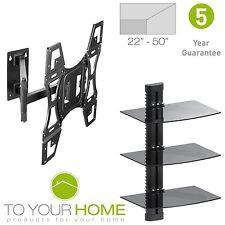 "22-50"" TV Wall Mount Bracket VESA LCD LED Swivel Tilt Triple Floating DVD shelf"