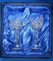 BOHEMIA CRYSTAL HAND CUT WINE GLASSES