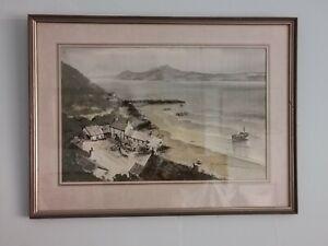 Original Watercolour Framed portdinllaen Caernarvon, Signed Welsh Painting