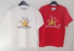2 x BNWT FAO Schwarz Toy Store Red & White T-Shirt Top Size Medium Age 12-14