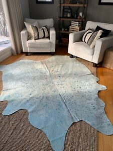 Turquoise Cowhide Rugs- Brazilian Natural Cowhides - Acid Washed Metallic
