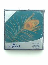 Pimpernel Coasters - Set of 4 - Golden Plume - Peacock - NIB