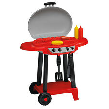 Toddler Play Grill Childrens Red Barbecue Indoor Outdoor Toy w Utensils & Food