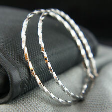14k white Gold plated large hoop twisted elegant earrings