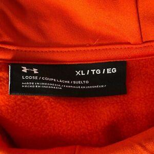 Under Armour Men's XL Loose Fit Bright Orange Pullover Logo Hoodie Sweatshirt