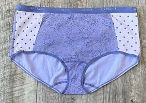 NEW CACIQUE LANE BRYANT PURPLE FLORAL POLKA DOT COTTON FULL BRIEF PANTY 22/24
