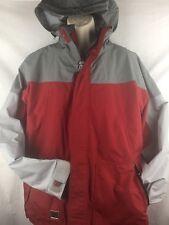 quicksilver Men's Medium Coat Jacket Double ZipUp With Hood Red Grey