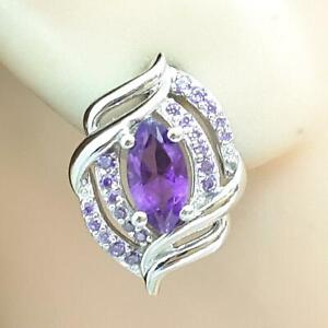 1.40ctw Amethyst & Diamond Cut White Sapphire 925 Sterling Silver Earrings 4.8g