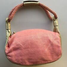 Kate Spade Handbag Tote Purse Pink Canvas Golden Leather Authentic 2008