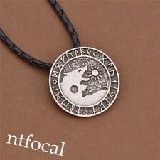 Men Norse Viking Wolf Pendant Necklace Vintage Silver Leather Chain Hot Sale
