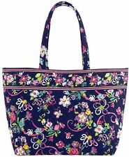 Vera Bradley Grand Tote In Ribbons with Solid Pink Interior - NWT